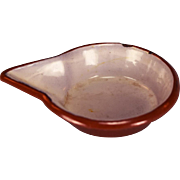 Brown Enameled Bowl with Pour Spout for the Doll Kitchen Late 1800s