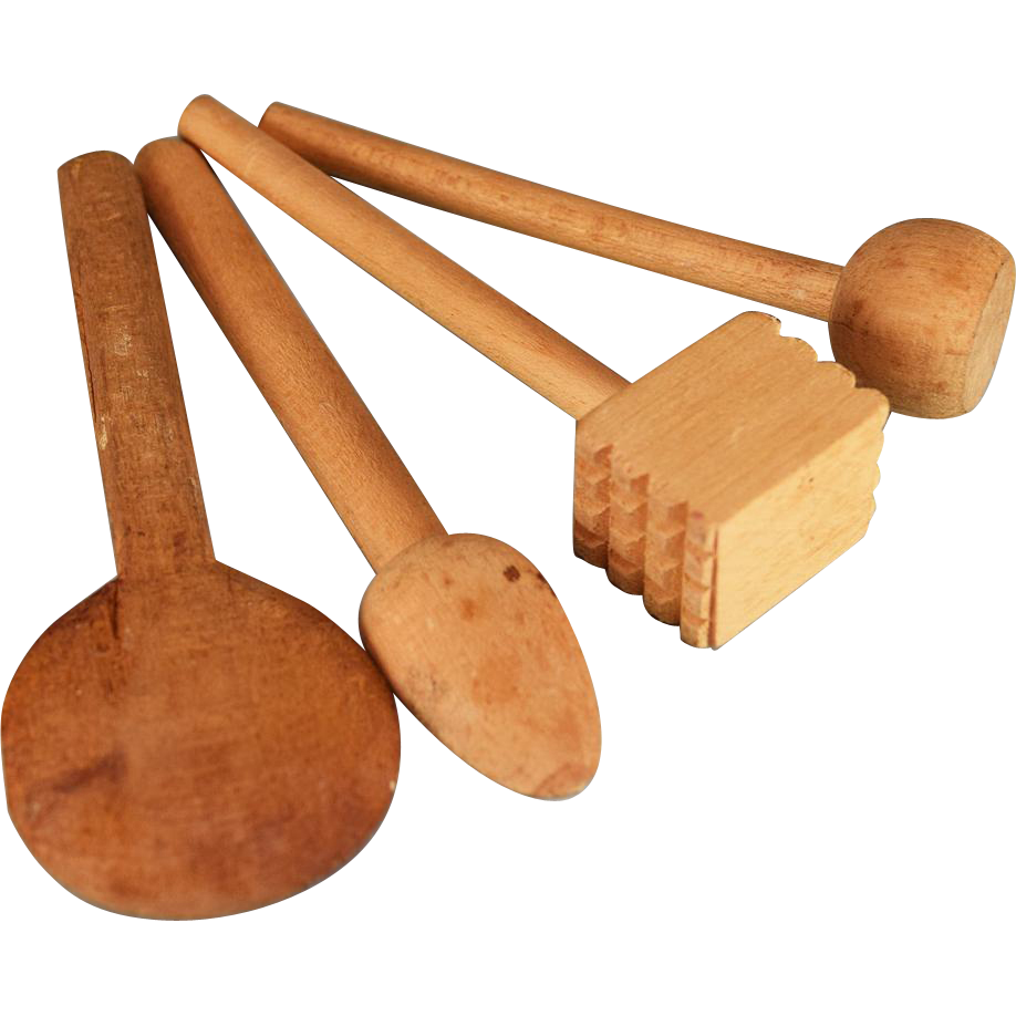 Four antique wooden kitchen utensils for the doll kitchen for Wooden kitchen utensils