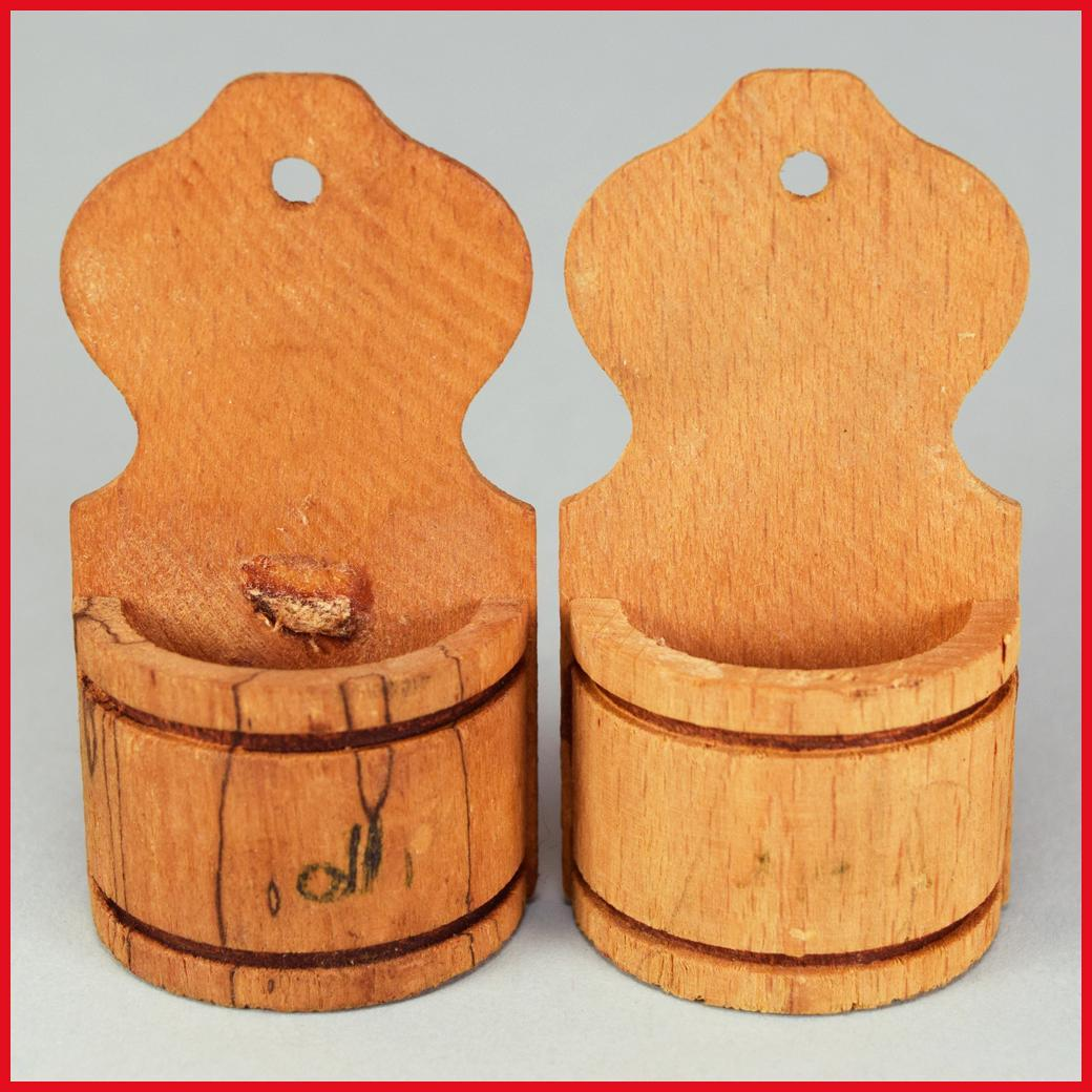 "Pair of Antique German Wooden Hanging Wall Canisters Late 1800s Large 1"" Scale"