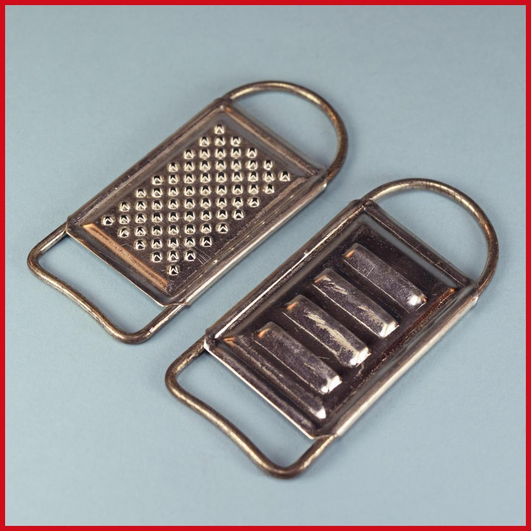 "Pair of German Dollhouse Sheet Metal Graters 1920s – 1930s Large 1"" Scale"