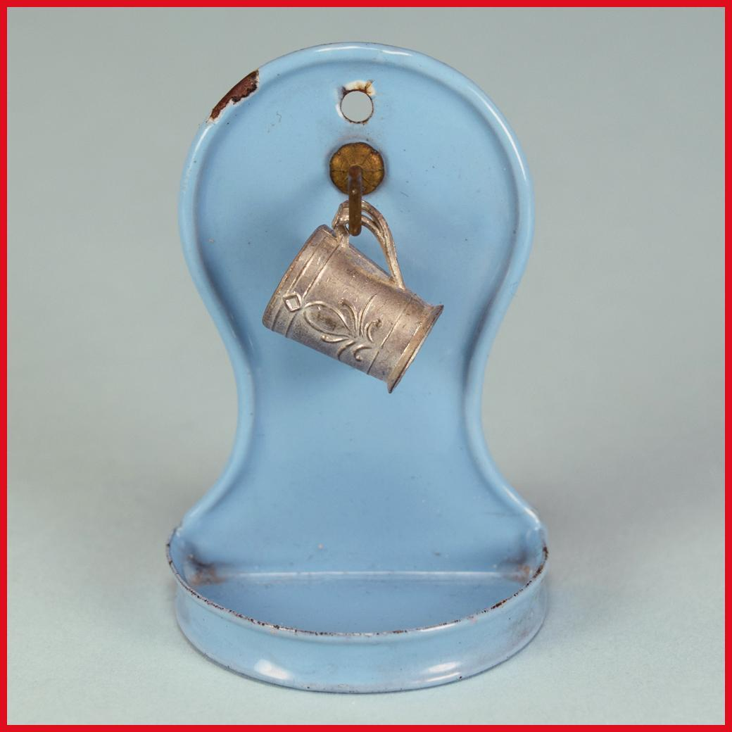 "Antique German Dollhouse Blue Enameled Tin Lavabo / Bailer with Pewter Mug Early 1900s 1"" Scale"