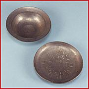 "Two Antique German Dollhouse Cast Metal Bowls Late 1800s Large 1"" Scale"