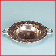 """Antique German Dollhouse Cast Metal Serving Bowl with Handles Early 1900s Large 1"""" Scale"""