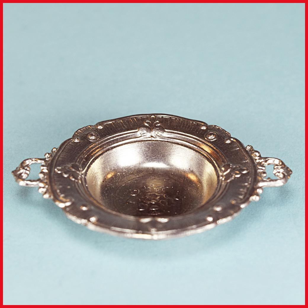 "Antique German Dollhouse Cast Metal Serving Bowl with Handles Early 1900s Large 1"" Scale"