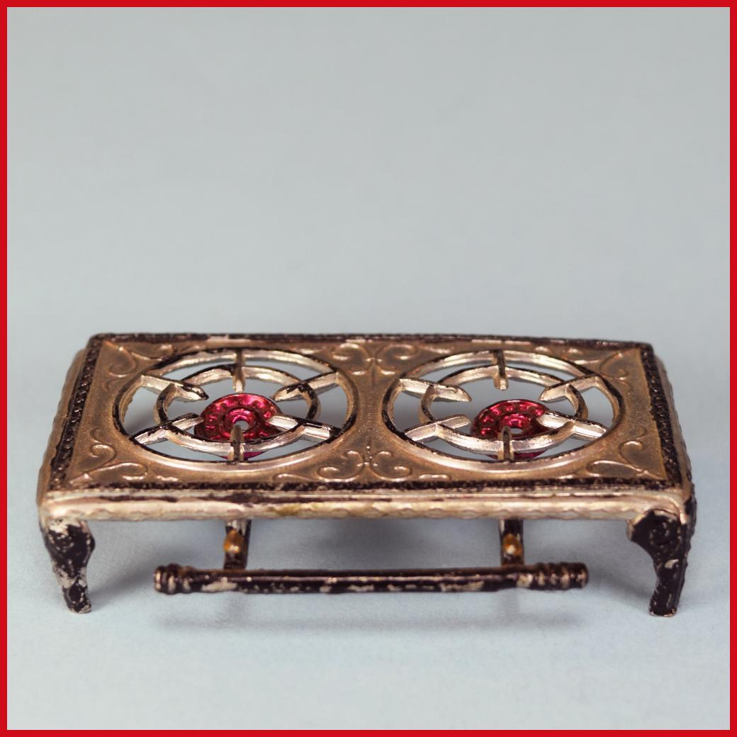 "Tynietoy Doll House Miniature Cast Metal Two Burner Hot Plate by Gerlach 1920s - 1930s Large 1"" Scale"