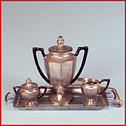 """Antique German Dollhouse Cast Metal Electric Samovar, Sugar, Creamer and Tray by Gerlach Early 1900s Large 1"""" Scale"""