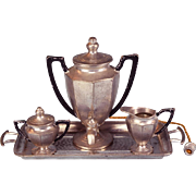 "Antique German Dollhouse Cast Metal Electric Samovar, Sugar, Creamer and Tray by Gerlach Early 1900s Large 1"" Scale"
