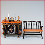 """Concord Miniatures Hand Painted Wooden Chinoiserie Cabinet with Accessories and Hitchcock Bench 1980s 1"""" Scale"""