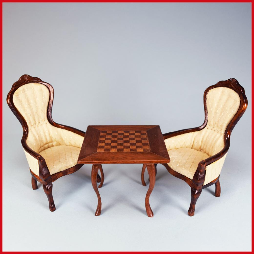 Ordinaire Pair Of Concord Miniatures Dollhouse Gents Chairs And Chess Table By :  Curley Creek Antiques U0026 Collectibles | Ruby Lane