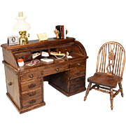 """Dollhouse Miniature Wooden Roll Top Desk and Chair by Reminiscence – Accessories Included 1970s – 1980s 1"""" Scale"""