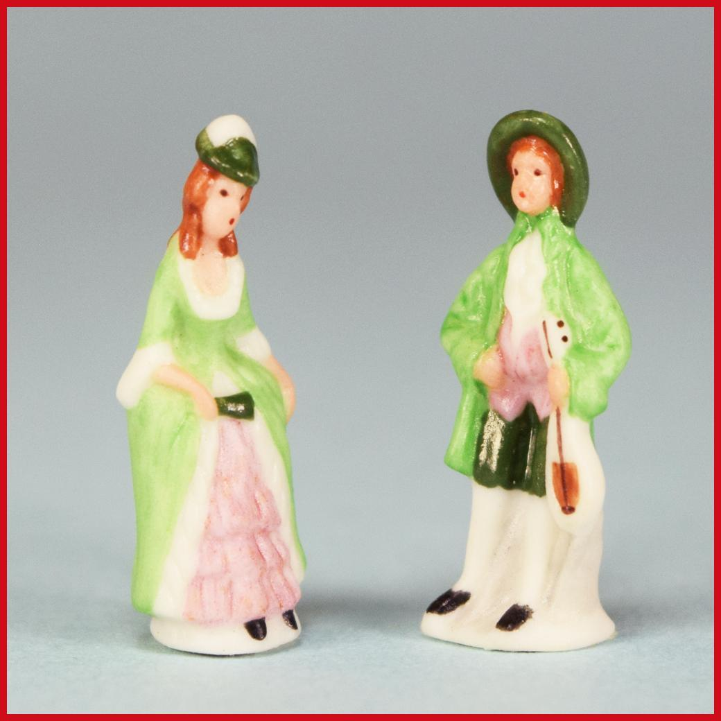 "Pair of Dollhouse Miniature 18th Century Porcelain Figurines by Carol Pongracic 1984 1"" Scale"
