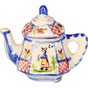 "Dollhouse Miniature Porcelain Quimper Teapot by Janice Crawley Canadian Artist and I.G.M.A. Fellow Early 1990s 1"" Scale"