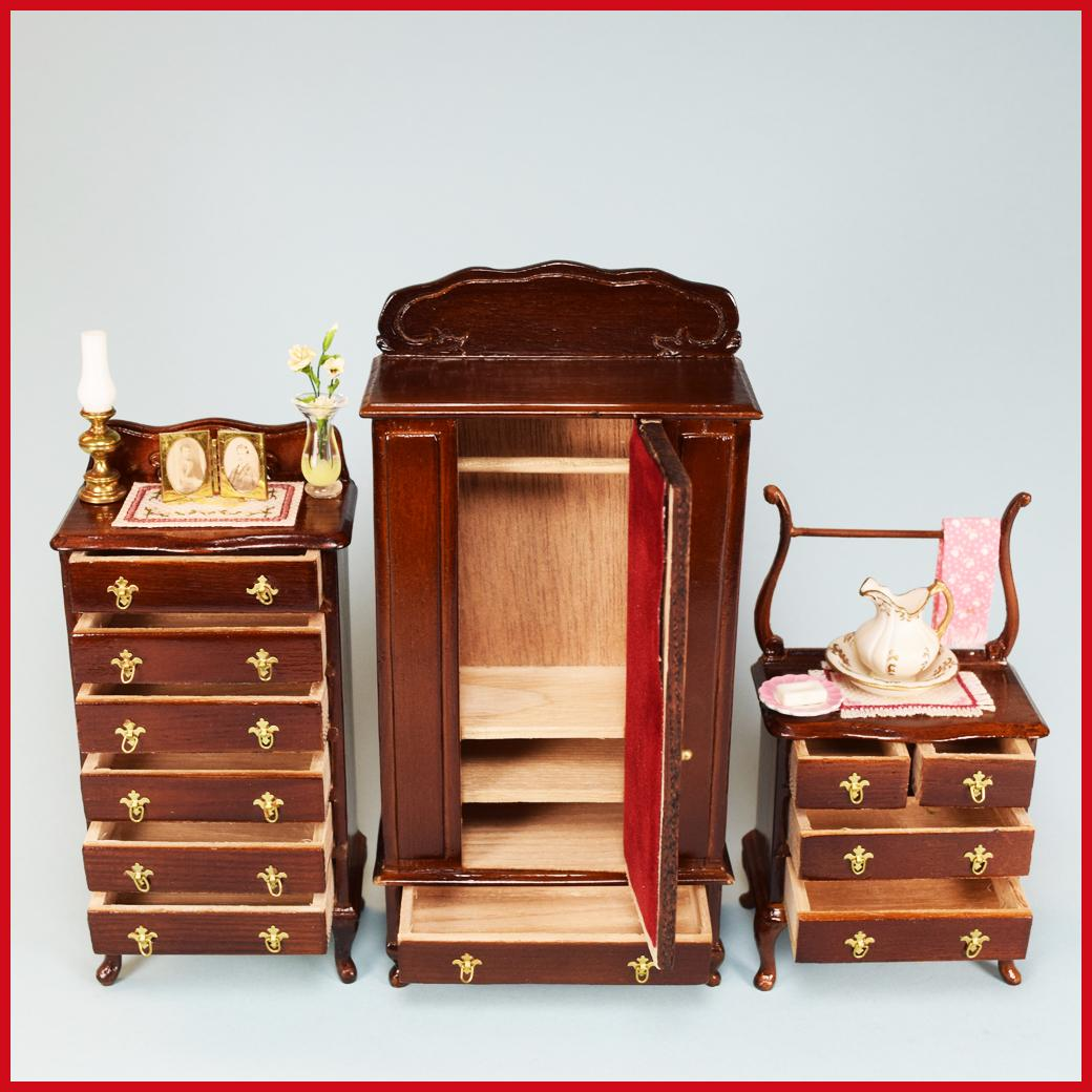 Miniature Dollhouse Bedroom Furniture Set Of 3 Sterling Hall Miniatures Dollhouse Bedroom Furniture With