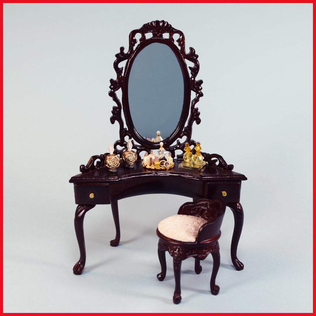 Bespaq Dollhouse Miniature Dressing Table Amp Chair With