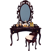 """Bespaq Dollhouse Miniature Dressing Table & Chair with Accessories Early 1990s 1"""" Scale"""