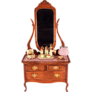 """Dollhouse Miniature Mirrored Dresser by Russ Mason with Accessories 1980 1"""" Scale"""