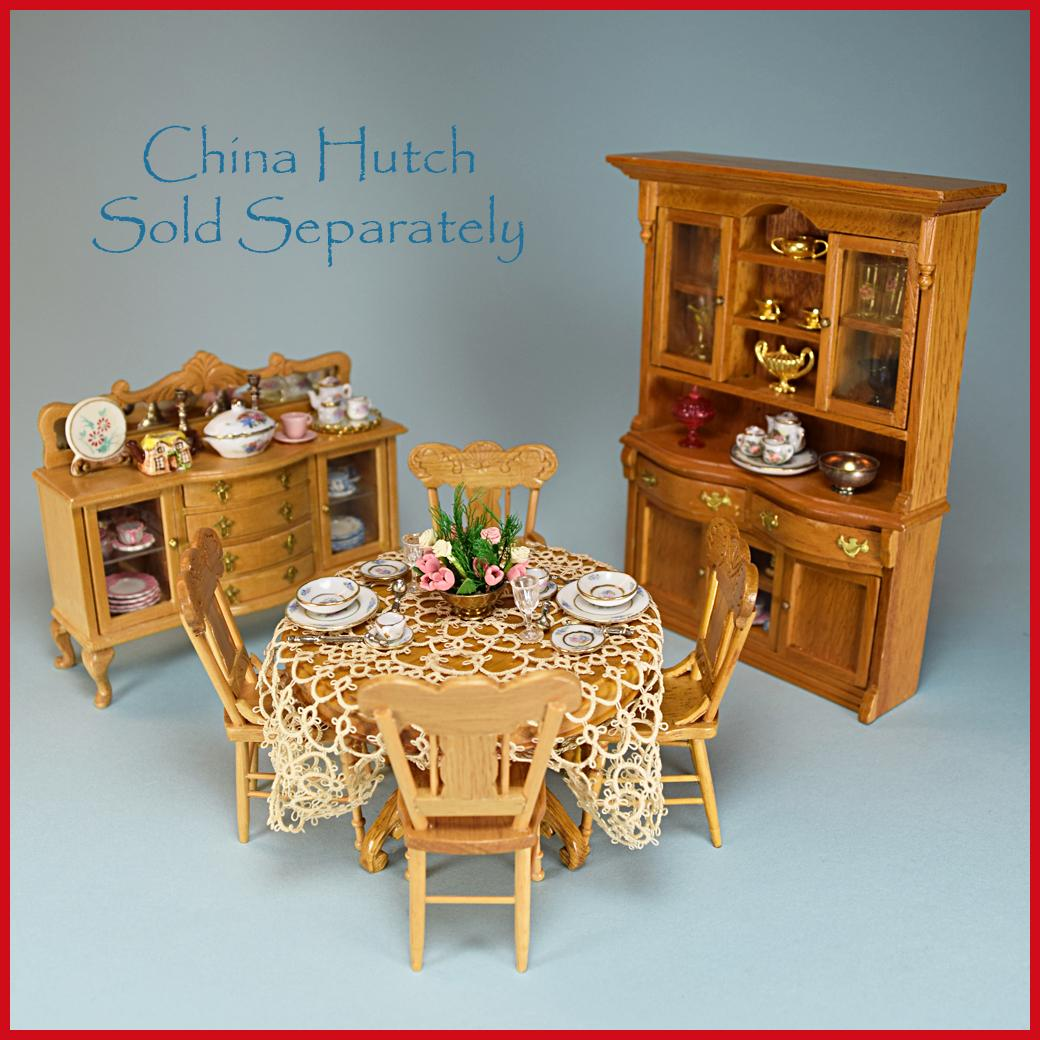 Roll Over Large Image To Magnify Click Zoom Expand Description Dollhouse Miniature 6 Piece Oak Dining Room Furniture