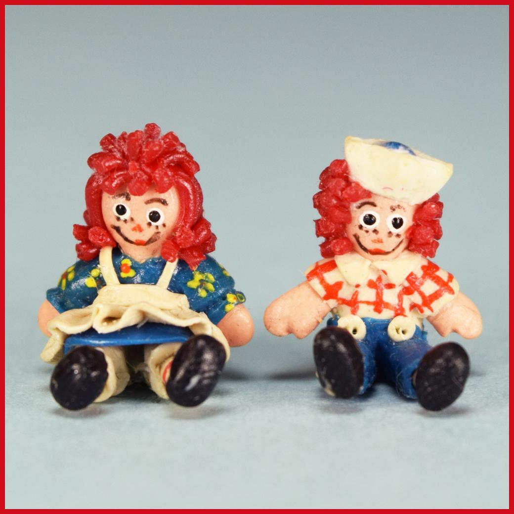 "1/2"" Fimo Clay Raggedy Ann and Any Dolls Early 1990s 1"" Scale"