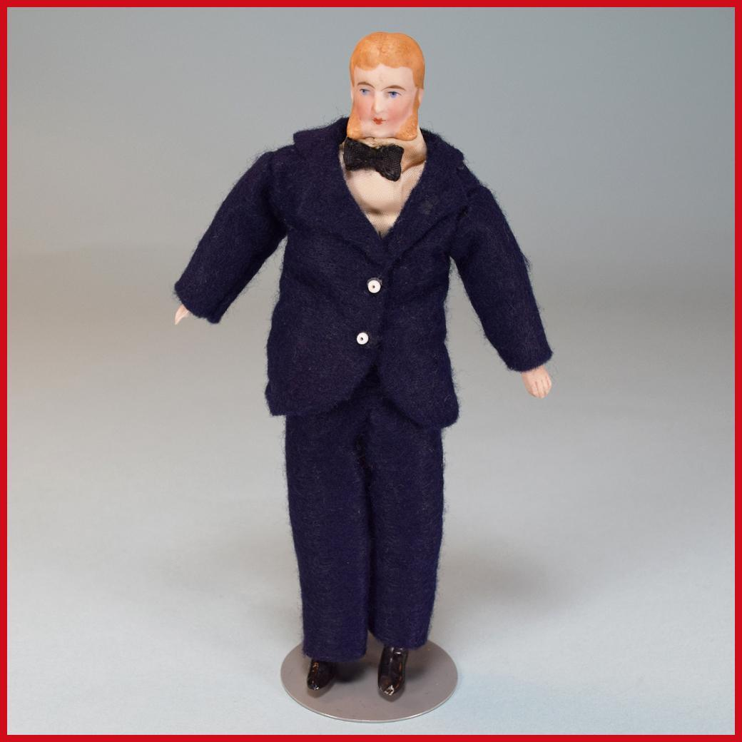 "6"" Antique Bisque Kestner Dollhouse Gentleman Doll with Original Costume Late 1800s 1"" Scale"