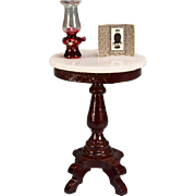 "Dollhouse Miniature Round Marble Top Table by Fantastic Merchandise – Victorian Style with Accessories 1980s 1"" Scale"
