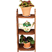 "Artisan Wall Shelf with Potted Plants & Teapot Early 1990s 1"" Scale"
