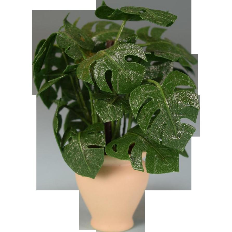 Dollhouse furniture - Dollhouse Miniature Split Leaf Philodendron Houseplant By