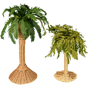 "Dollhouse Miniature Artisan Wicker Plant Stands with Boston Ferns Early 1990s 1"" Scale"