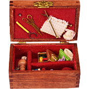 "Dollhouse Miniature Artisan Wooden Sewing Box with Sewing Notions by Chuck and Pat Peat 1988 1"" Scale"