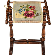 """Dollhouse Miniature Wooden Needlepoint Stand with Fine Petite Point Work in Progress by Elwood Camp Late 1980s 1"""" Scale"""