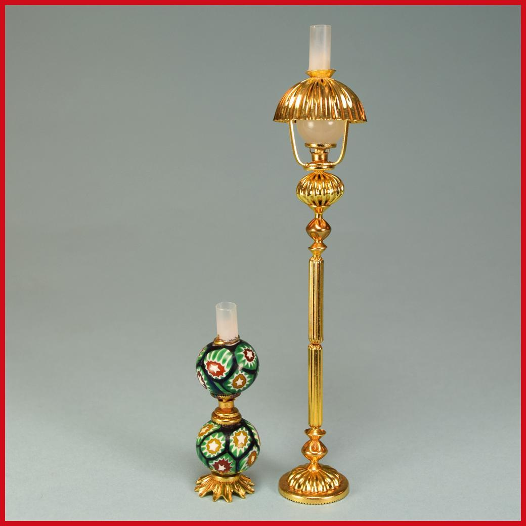 Pair of Artisan Dollhouse Miniature Victorian Style Lamps Early 1990s ...