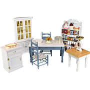 "Vintage Dollhouse Miniature Kitchen Furniture by Concord and Others Plus Accessories Early 1990s 1"" Scale"