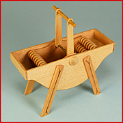 """Dollhouse Miniature Antique Style Wooden Washing Machine by Roy Peters Late 1980s 1"""" Scale"""