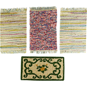 "4 Vintage Dollhouse Miniature Throw Rugs 1980s 1"" Scale"