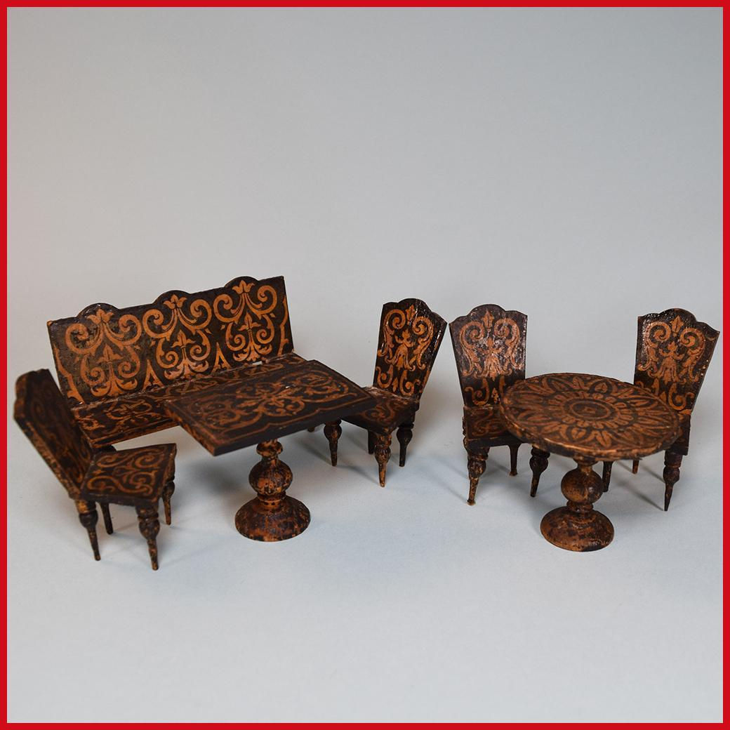 "Early German 7 Pc. Lithograph Dollhouse Parlor Suite from the Flora Gill Jacobs Estate 1840s - 1850s 3/4"" Scale"