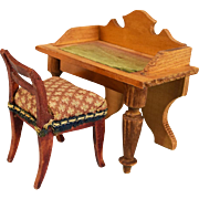 "Antique Dollhouse Desk Late 1800s & Side Chair Mid 1800s from the Flora Gill Jacobs Estate Small 1"" Scale"