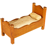 "German Dollhouse Miniature Bed by Schneegas – Golden Oak Finish – Late 1800s Small 1"" Scale"