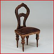 "Antique German Dollhouse Faux Grain Empire Side Chair Mid 1800s 1"" Scale"