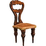 "German Dollhouse Empire Faux Grain Side Chair from the Flora Gill Jacobs Estate Mid 1800s 1"" Scale - Red Tag Sale Item"