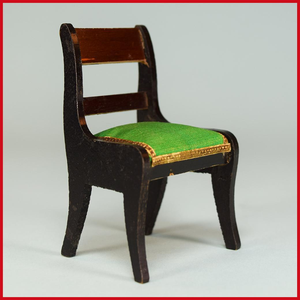 "Antique Dollhouse Biedermeier Boulle Side Chair Mid 1800s 1"" Scale"