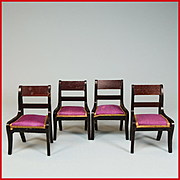 "Set of 4 Antique Dollhouse Biedermeier Boulle Side Chairs from the Flora Gill Jacobs Estate Mid 1800s 1"" Scale"