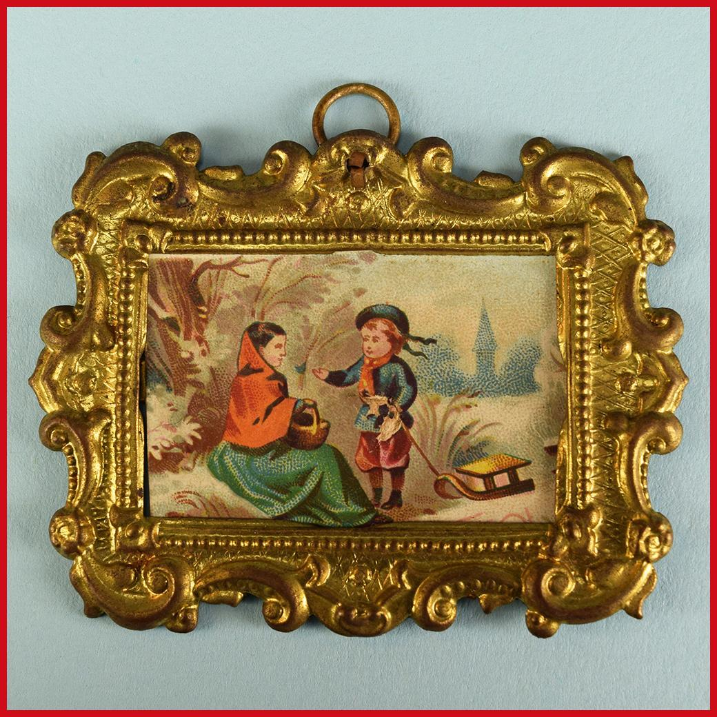 "Erhard and Son Miniature Antique Ormolu Picture Frame with Original Litho Print of Mother and Boy with Sled Late 1800s 1"" Scale"