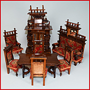 """8 Piece Wooden Antique German Dollhouse Furniture Set Late 1800s Large 1"""" Scale"""