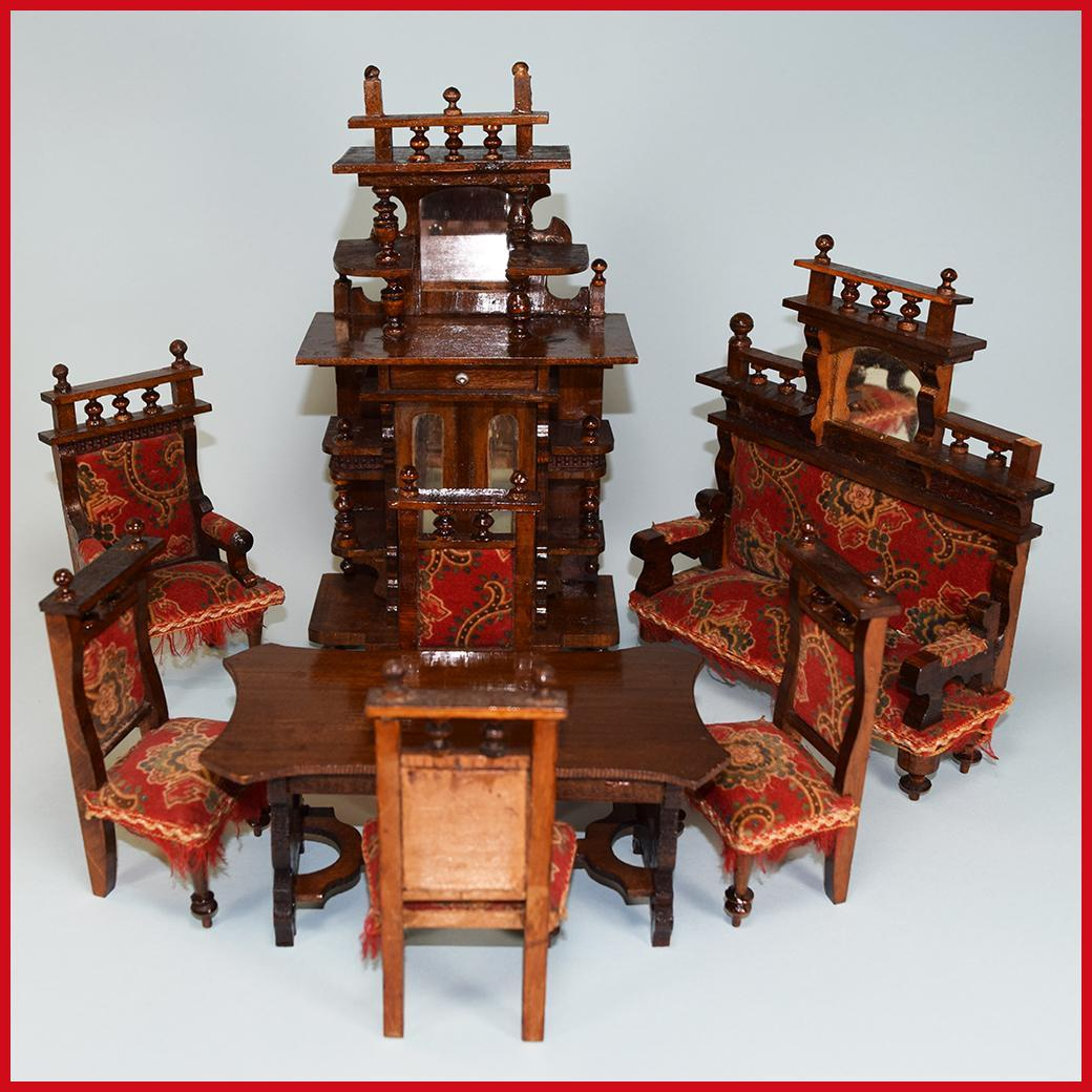 8 Piece Wooden Antique German Dollhouse Furniture Set Late 1800s Large From Curleycreekantiques
