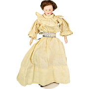 "6 1/2"" Antique German Lady Dollhouse Doll Bisque Shoulderhead Late 1800s"