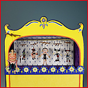 "Hand Painted Miniature Toy Theater by Barbara Sundberg with 6 Fimo Clay Marionettes by Tony Corillo 1984 1"" Scale"