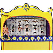 """Hand Painted Miniature Toy Theater by Barbara Sundberg with 6 Fimo Clay Marionettes by Tony Corillo 1984 1"""" Scale"""