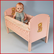 "15"" Hard Plastic Baby Doll by Pedigree Toy Company Made in England 1950s with Pink Wooden Doll Bed"