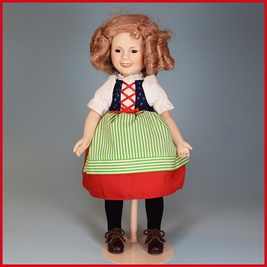"14"" Porcelain Bisque Shirley Temple Doll Danbury Mint Heidi 1986"