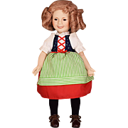 "14"" Porcelain Bisque Shirley Temple Doll Danbury Mint Heidi 1986"