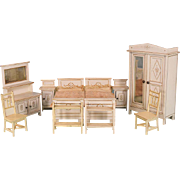 "10 Pc. Dollhouse Gottschalk Bedroom Suite from Flora Gill Jacobs Early 1900s 1"" Scale"